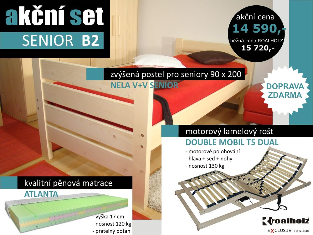 akční set SENIOR B2 - postel + motorový rošt + matrace (akční set SENIOR B2 - postel s vysokými čely, motor rošt, matrace)