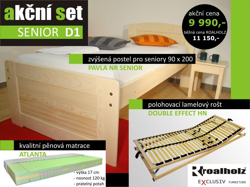 akční set SENIOR D1 - senior jednolůžko + rošt + matrace (akční set SENIOR D1 - zvýšené jednolůžko, polohovací rošt a matrace)