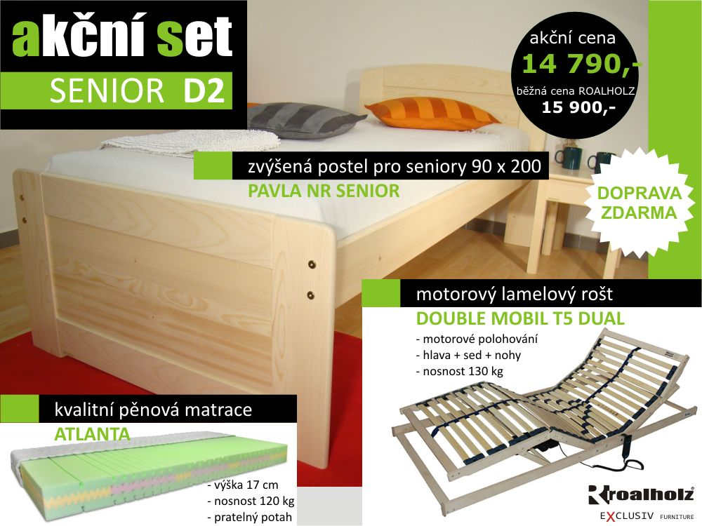 akční set SENIOR D2 - postel + motorický rošt + matrace (akční set SENIOR D2 - postel pro seniory, motorický rošt, matrace)