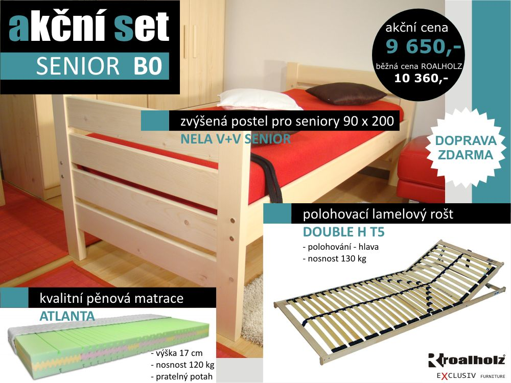 akční set SENIOR B0 - postel zvýšená + rošt + matrace (akční set SENIOR B0 - zvýšená postel + lamelový rošt + matrace)