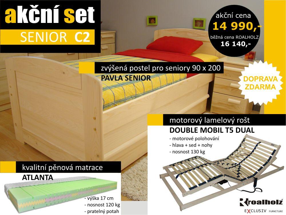 akční set SENIOR C2 - postel + motorový rošt + matrace (akční set SENIOR C2 - postel pro seniory s motorovým roštem + matrace)
