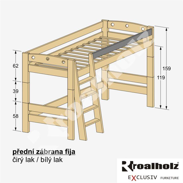 dřevěná PŘEDNÍ ZÁBRANA FIJA masiv na palandy (dětská PŘEDNÍ ZÁBRANA masiv na patrové postele FIJA)