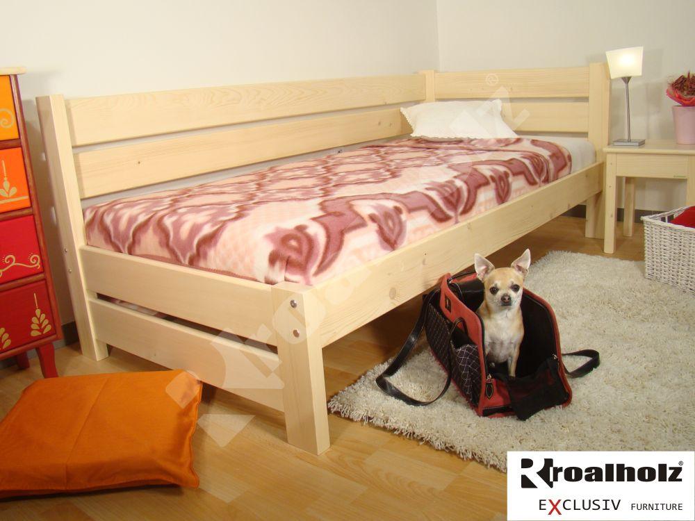 bytelná postel se zábranou z masivu NIKI NR, bytelná postel