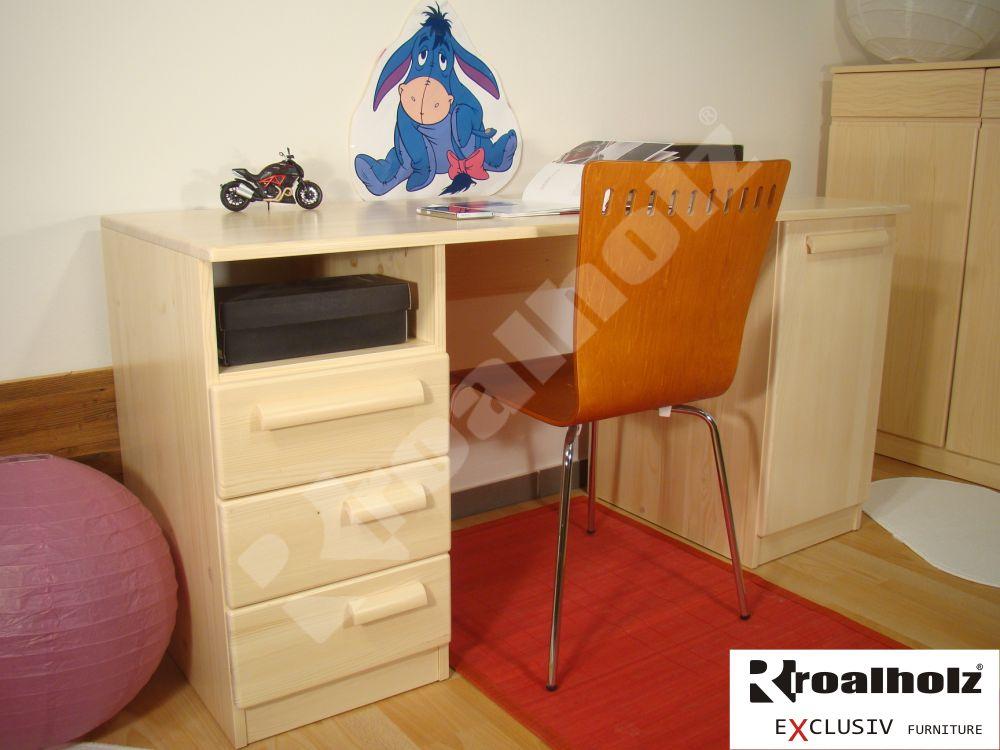 Dřevěný psací stůl z masivu oboustranný AMOS 150, psací stůl smrkový masiv ROALHOLZ