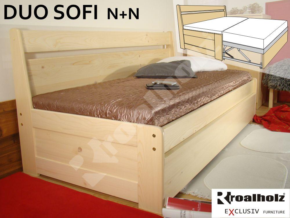 rozkládací postel z masivu s opěrkou DUO SOFI N+N pro každodenní spaní