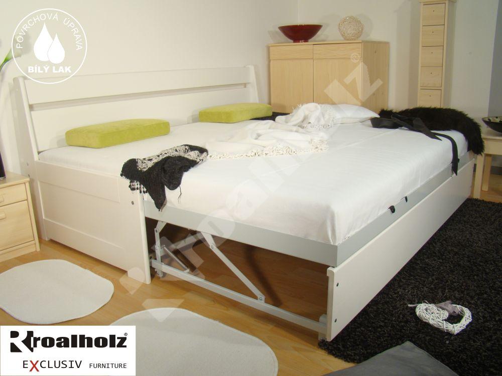 bílá rozkládací postel z masivu DUO SOFI N+N bílá pro každodenní spaní