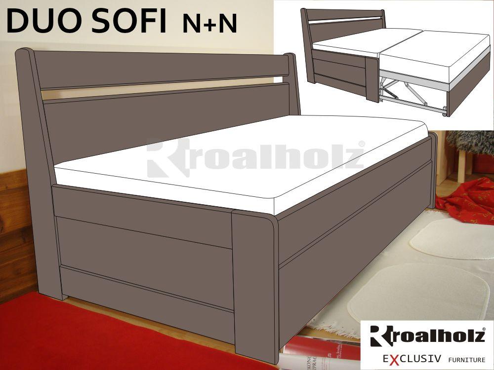 rozkládací postel masiv DUO SOFI N+N hnědé moření (rozkládací postel se zadní zábranou z masivu)