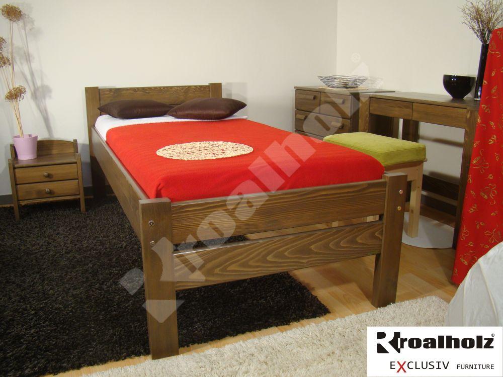 Hnědá postel z masivu pro seniory NELA NR SENIOR 90x200, zvýšené jednolůžko ROALHOLZ
