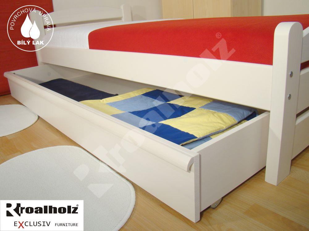 bílý úložný prostor pod postel z masivu DOREMI 1/1, bílý úložný prostor