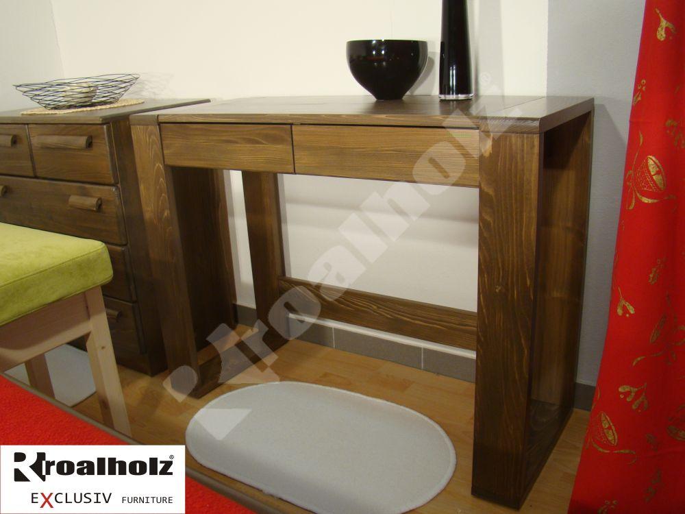 Hnědý šuplíkový toaletní stolek z masivu MARIS, hnědý šuplíkový stolek