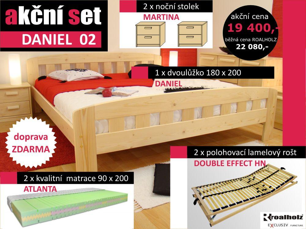 Akční set DANIEL 02 postel z masivu s rošty, matrace, stolky doprava zdarma