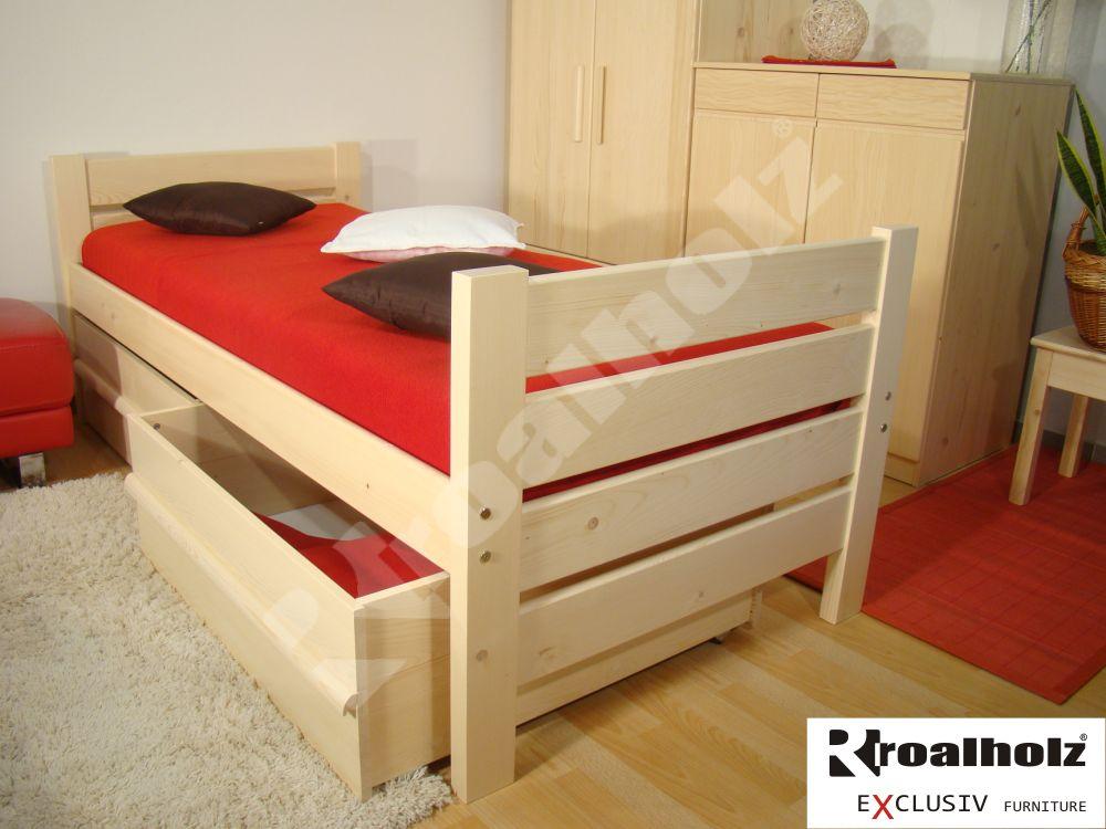 Zvýšená senior postel z masivu NELA V+V SENIOR 90x200, jednolůžko ROALHOLZ