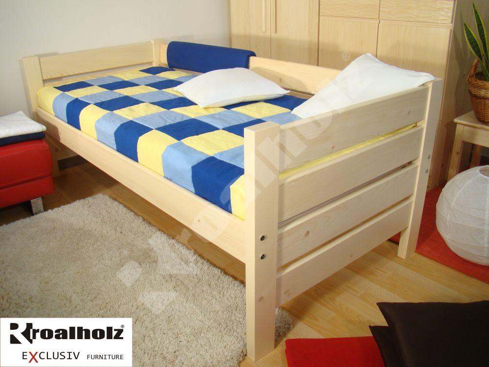 Senior postel z masivu se zábranou NIKI V+V SENIOR 90x200, senior jednolůžko ROALHOLZ