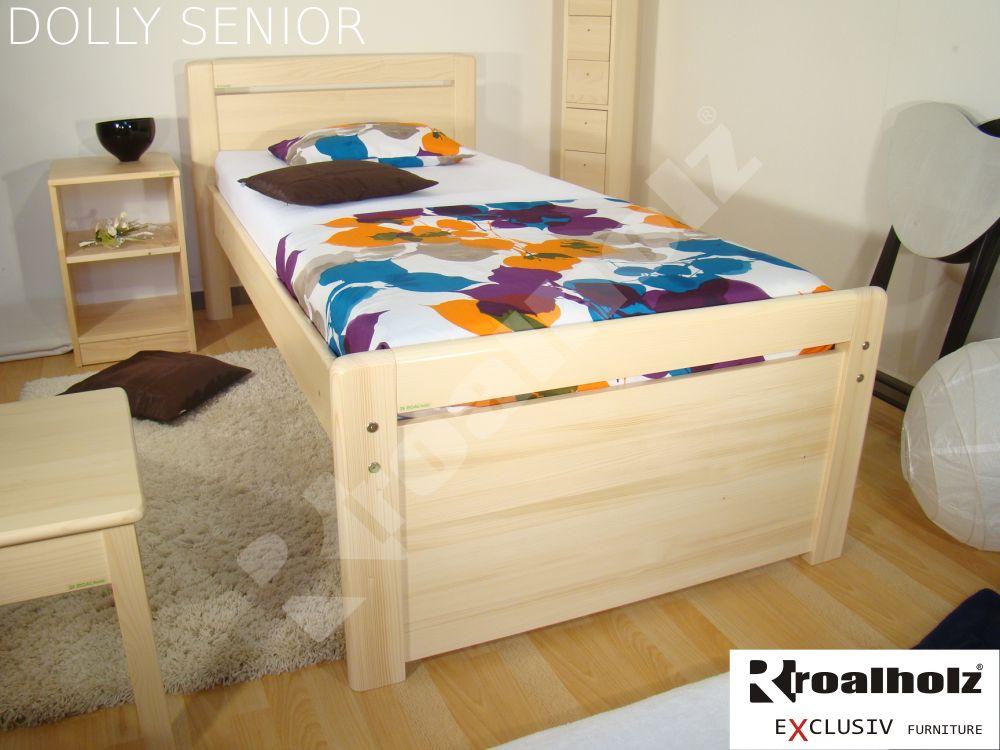 Zvýšené jednolůžko z masivu DOLLY SENIOR 90x200, postel pro seniory ROALHOLZ
