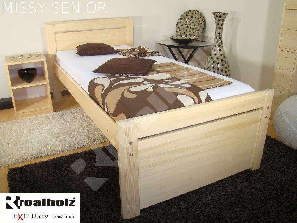 Vysoká postel z masivu pro seniora MISSY SENIOR 90x200, zvýšené jednolůžko ROALHOLZ