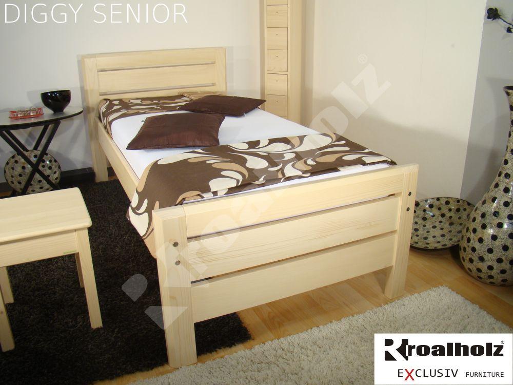 Zvýšené jednolůžko z masivu pro seniory, senior postel DIGGY SENIOR 90x200 ROALHOLZ