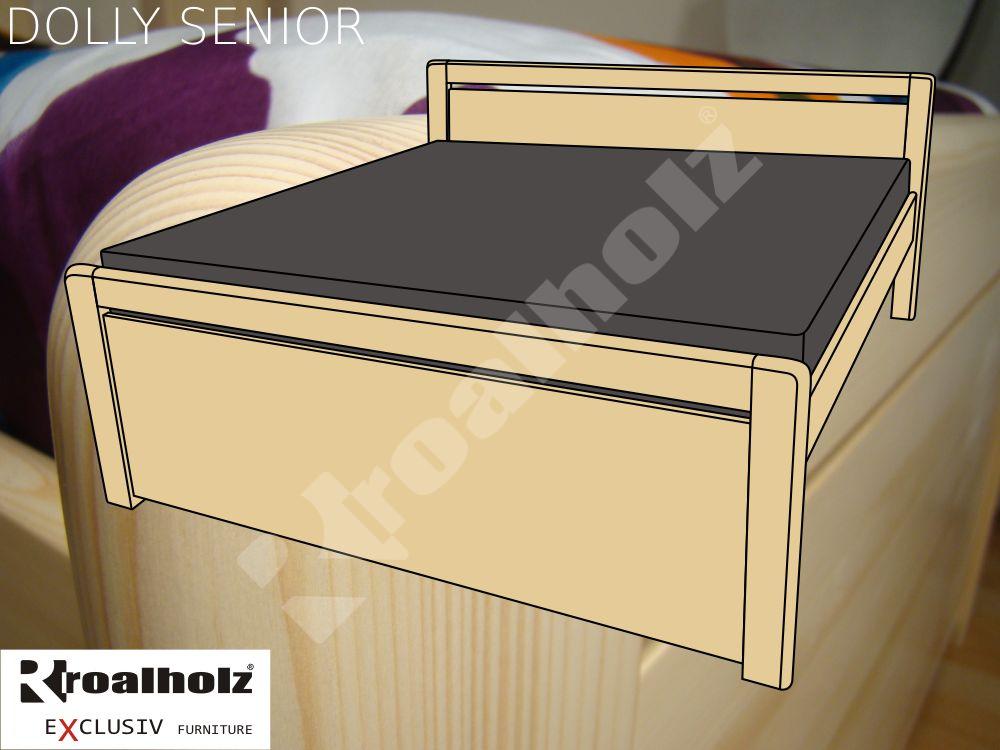 Vysoká senior manželská postel z masivu DOLLY SENIOR, dvoulůžko ROALHOLZ