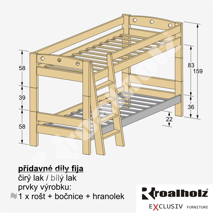 PŘÍDAVNÉ DÍLY FIJA pro vytvoření patrové postele (PŘÍDAVNÉ DÍLY FIJA pro sestavení palandy z masivu)