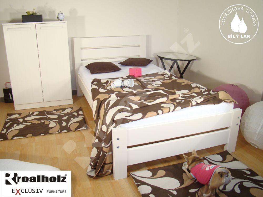 Bílé jednolůžko z masivu NELA NR 90x200, bílá moderní postel z masivu ROALHOLZ