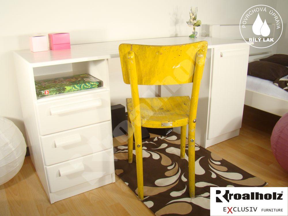 Bílý psací stůl z masivu oboustranný AMOS 150, bílý oboustranný psací stůl pro školáky