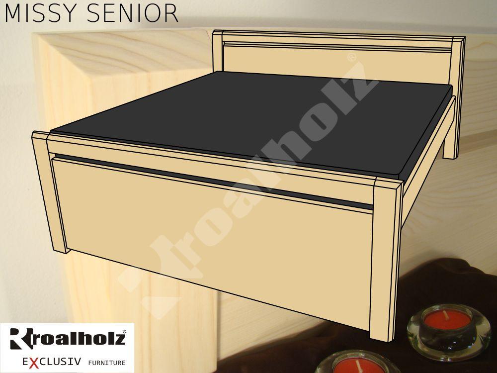 Vysoká senior manželská postel z masivu MISSY SENIOR, dvoulůžko ROALHOLZ