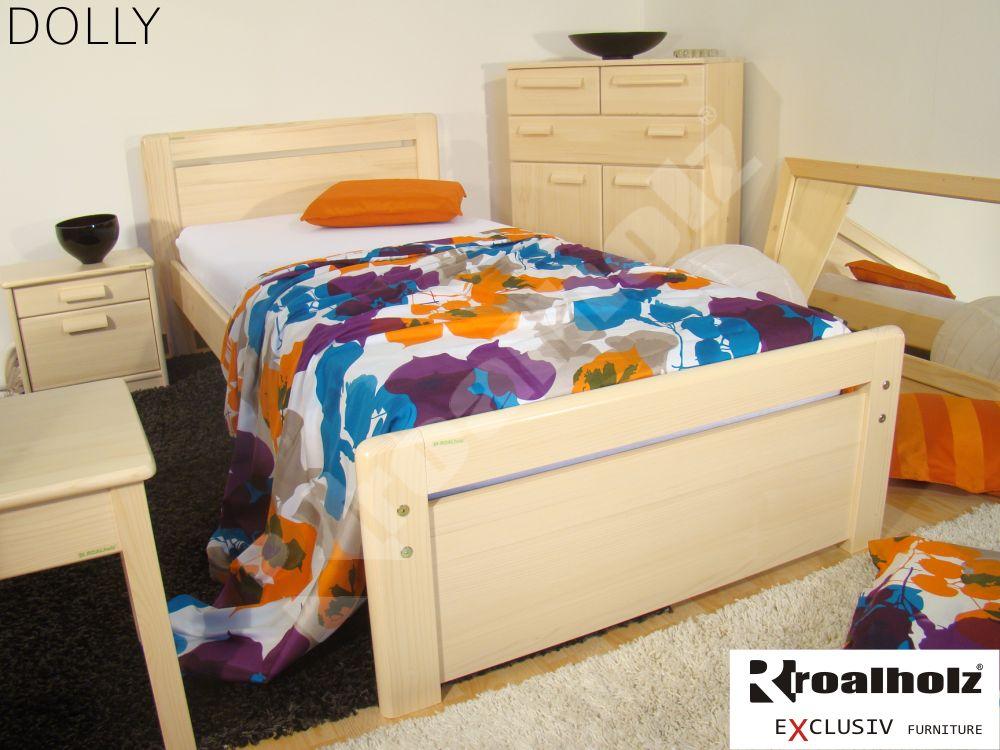 Kvalitní jednolůžko z masivu DOLLY 90x200, moderní postel z masivu ROALHOLZ