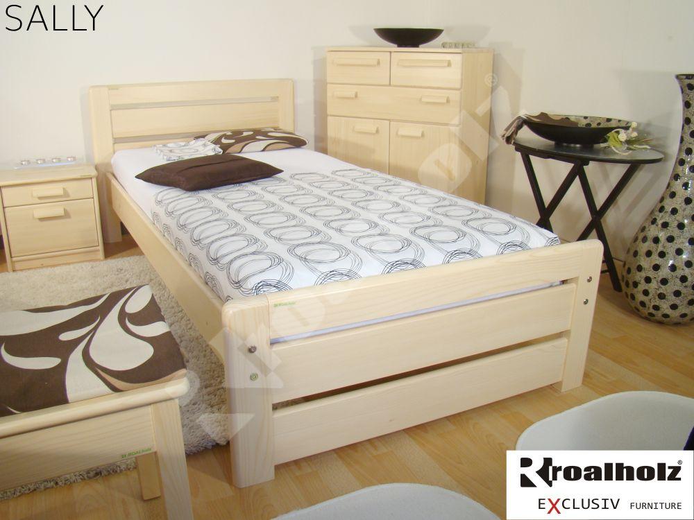 Kvalitní jednolůžko z masivu SALLY 90x200, moderní postel z masivu ROALHOLZ