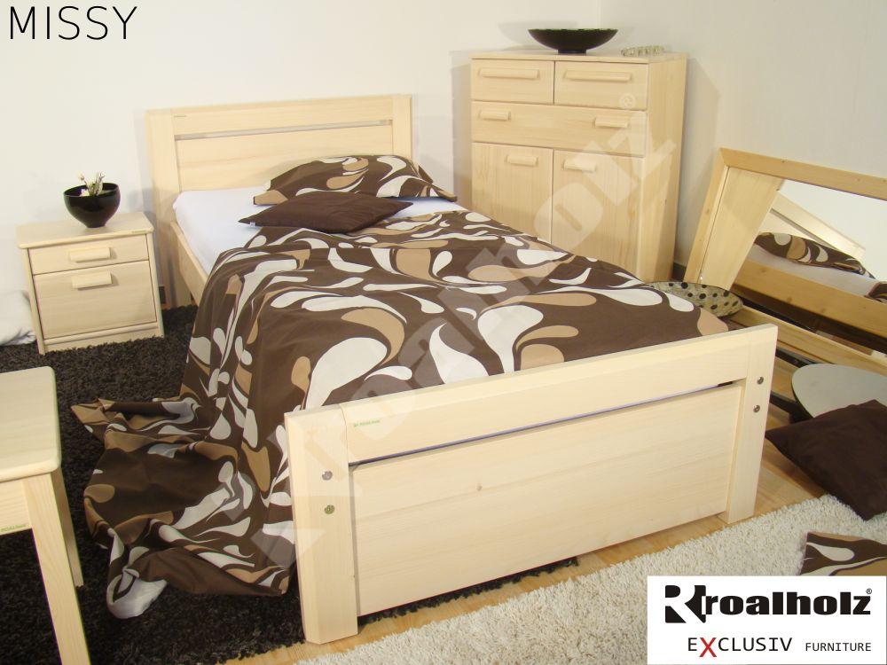 Kvalitní jednolůžko z masivu MISSY 90x200, moderní postel z masivu ROALHOLZ