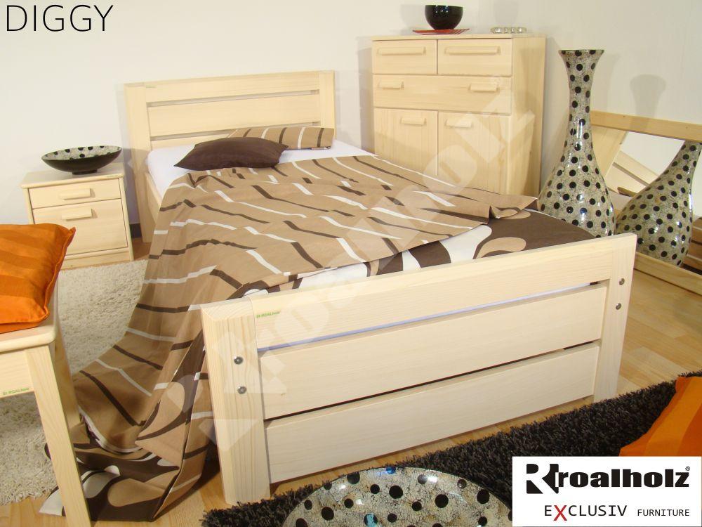 Dřevěné jednolůžko z masivu DIGGY 90x200, dřevěná postel z masivu ROALHOLZ