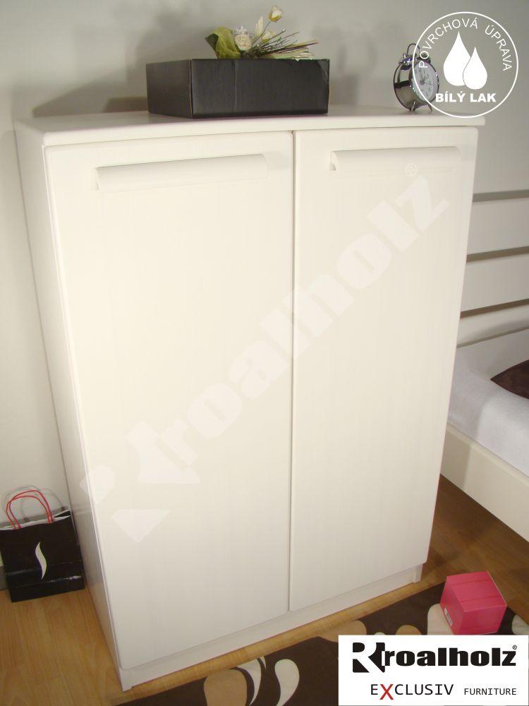 Bílý prádelník z masivu PRÁDELNÍK IX, moderní bílý prádelník ROALHOLZ