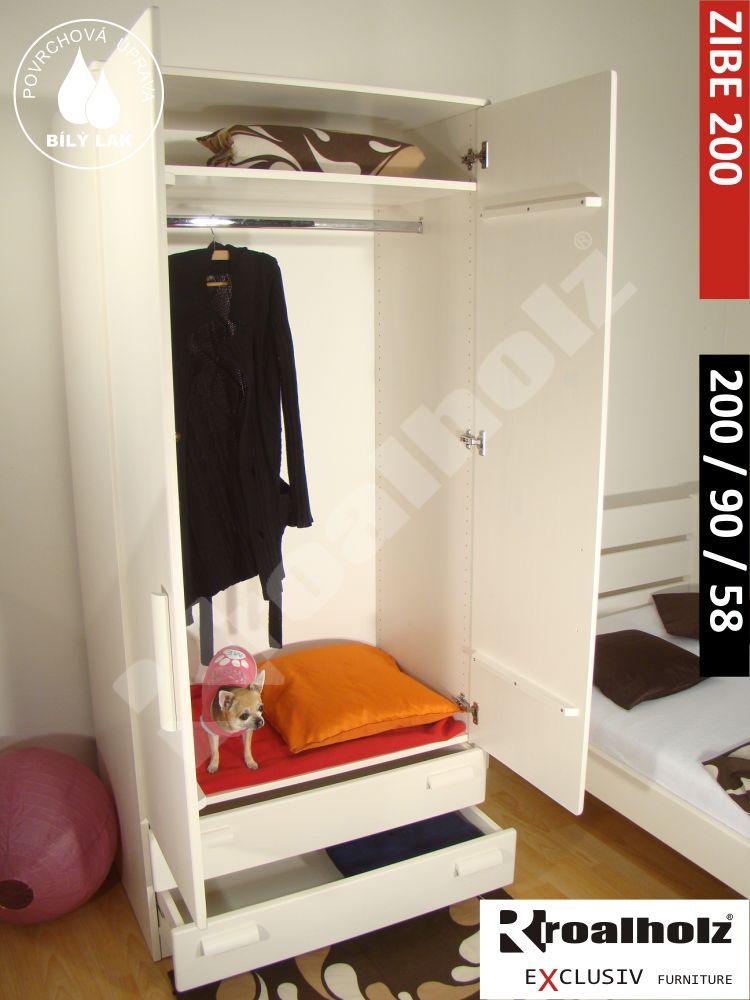 Bílá šatní skříň z masivu ZIBE 200, bílá šatní skříň masiv ROALHOLZ