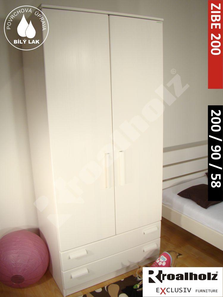 Bílá pološatní skříň z masivu ZIBE 200, bílá kombinovaná skříň masiv smrk ROALHOLZ