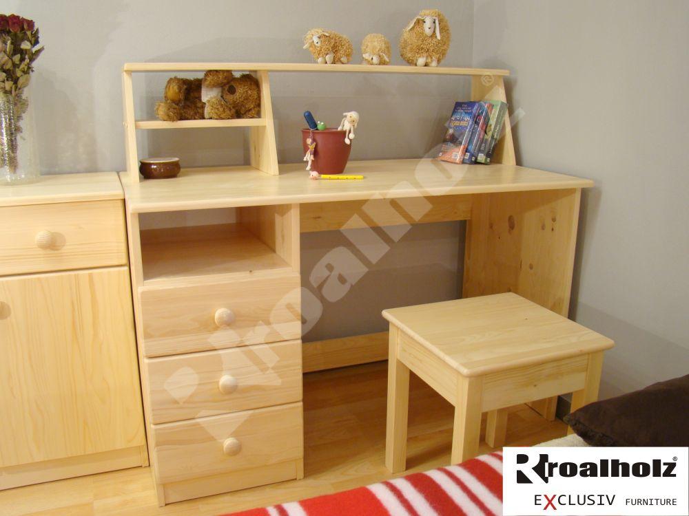 Školácký psací stůl z masivu jednostranný AMOS 120, jednostranný psací stůl pro školáky ROALHOLZ