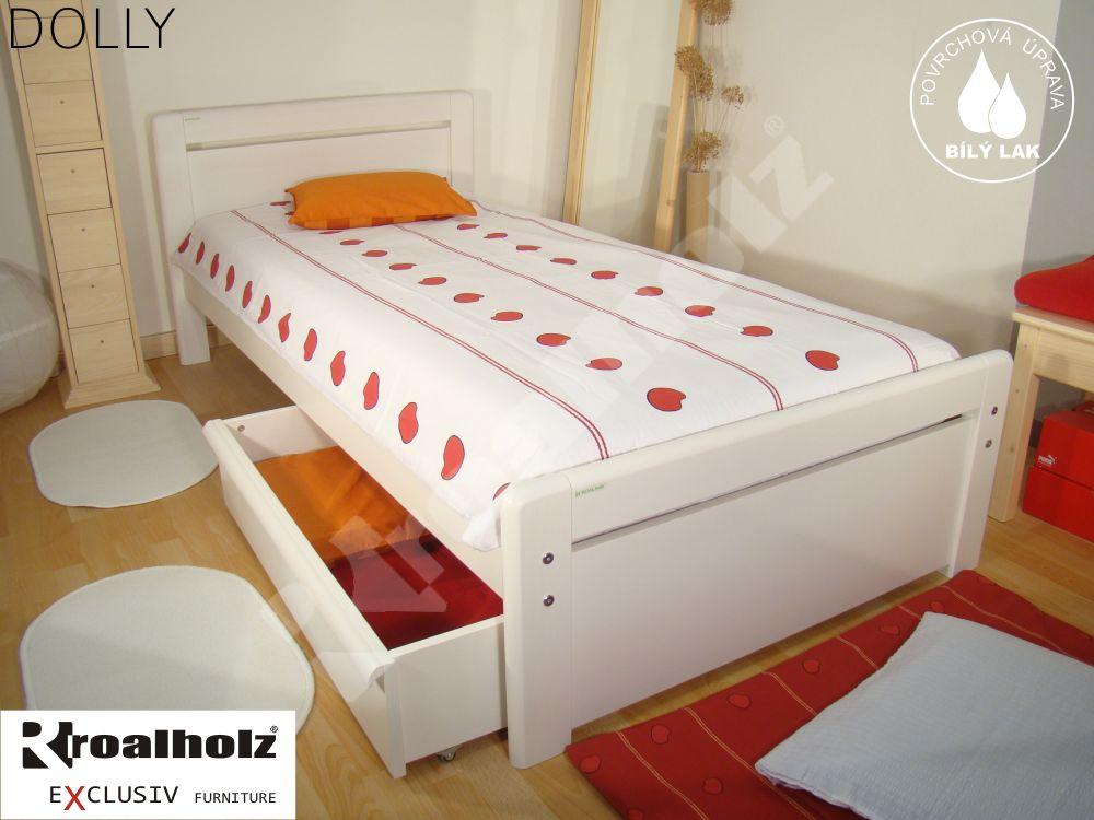 Bílá postel z masivu DOLLY 90x200, bílé moderní jednolůžko masiv ROALHOLZ
