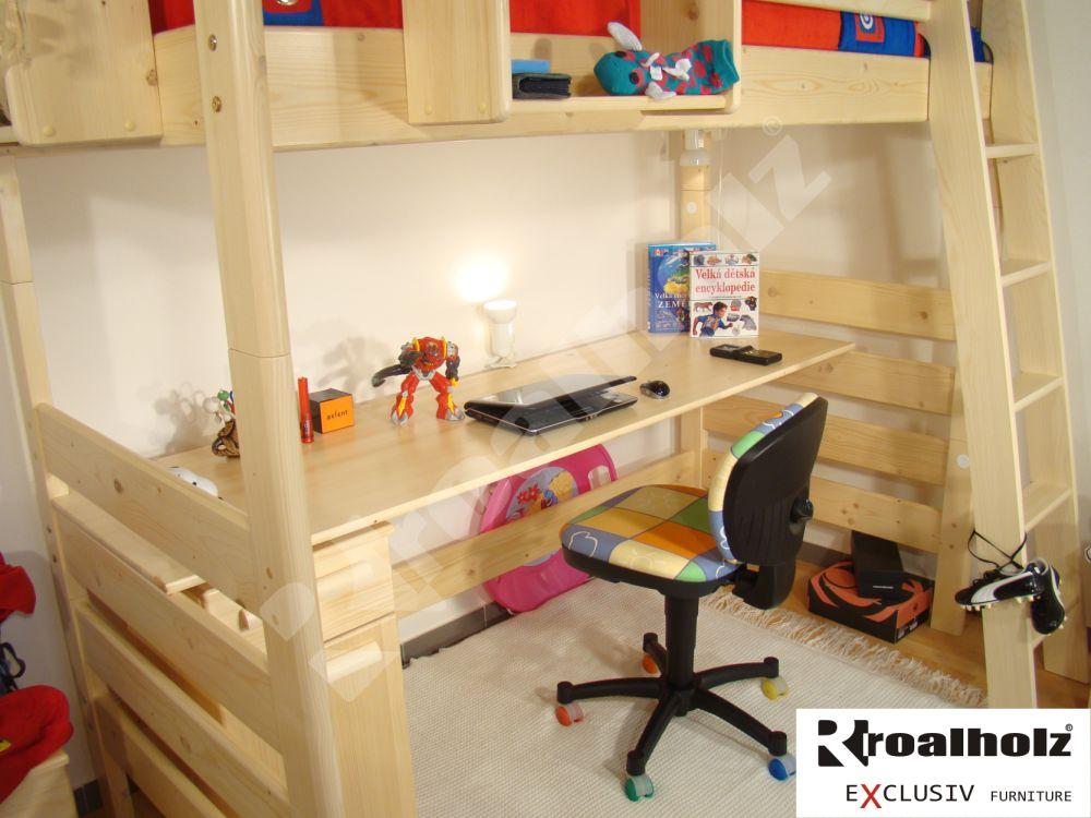 dřevěná PRACOVNÍ DESKA MONSTR masiv (PRACOVNÍ DESKA MONSTR - psací stůl pod patrové postele MONSTR VB)