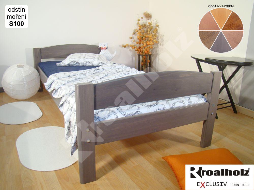 Kvalitní dětská postel z masivu ELEA B, mořená postel masiv 90x200 ROALHOLZ
