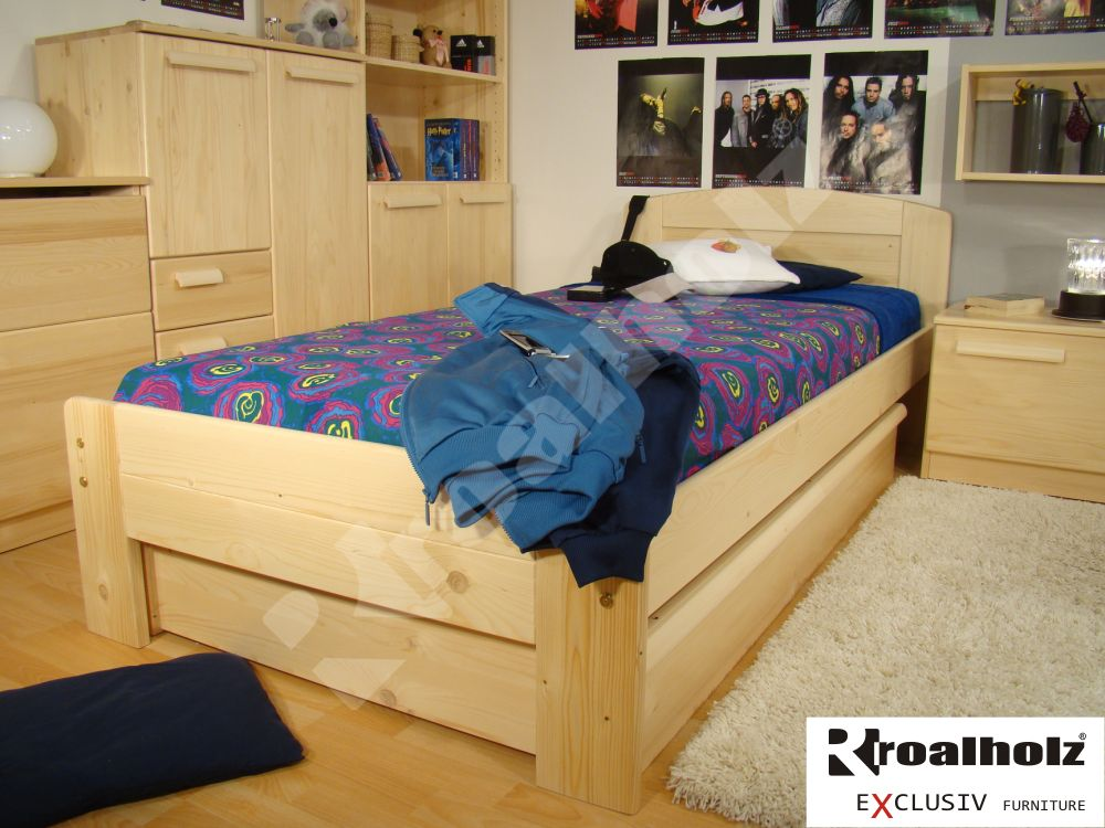 dřevěná postel z masivu GABRIELA NR 90x200, dřevěné jednolůžko