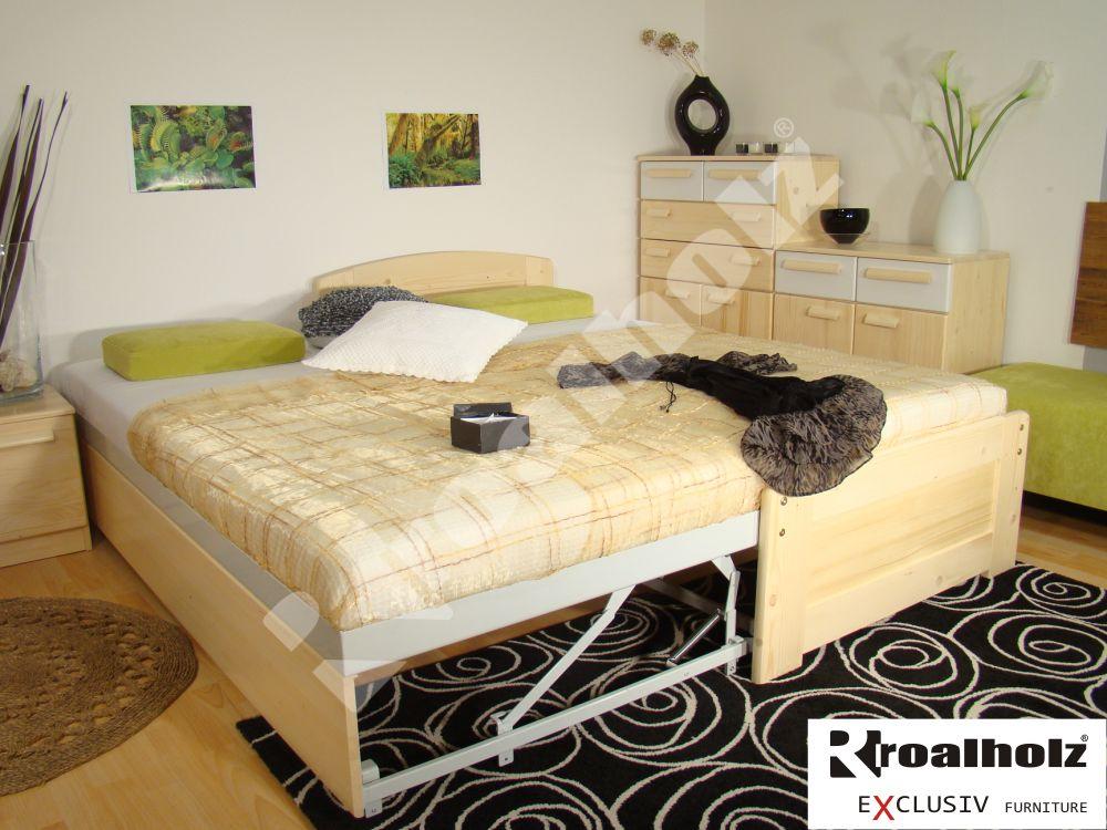 Dřevěná rozkládací postel z masivu DUO VO+NR 180x200