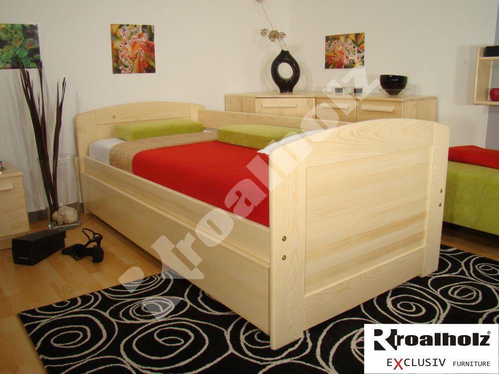 Dřevěné rozkládací jednolůžko masiv DUO VO+VO 180x200