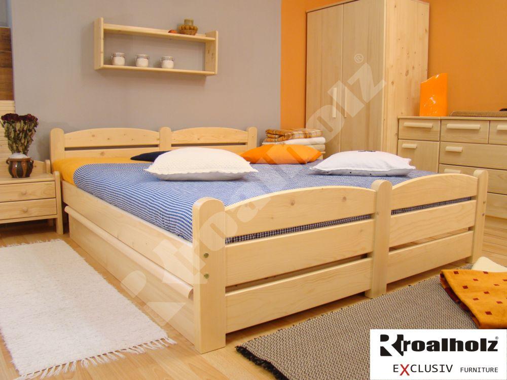 Dřevěná manželská postel z masivu RADKA 180x200, dvoulůžko masiv smrk ROALHOLZ