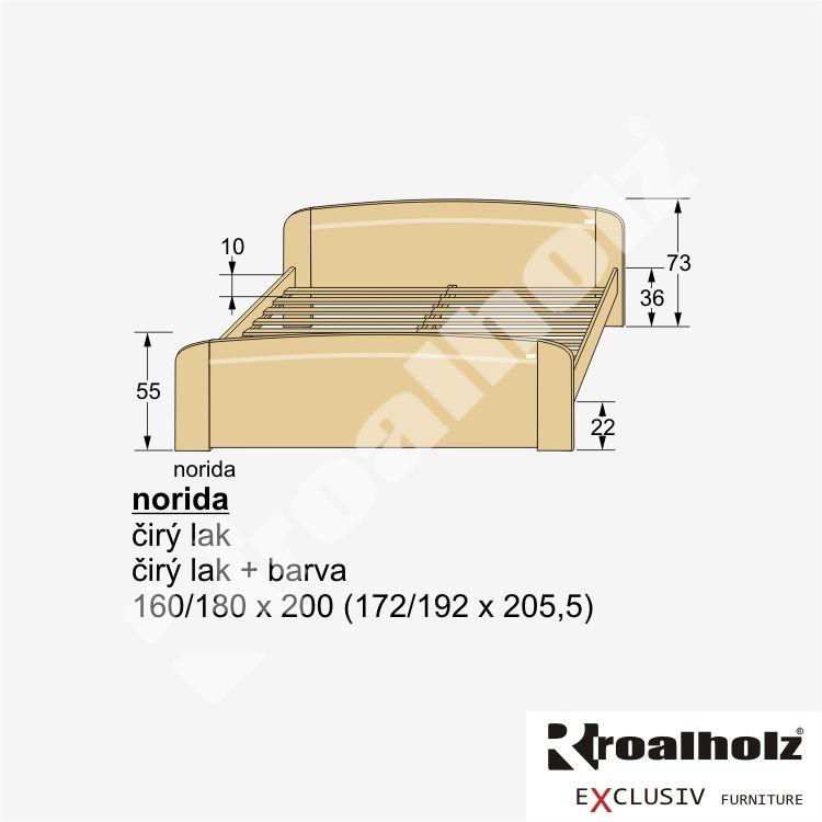 dřevěné luxusní dvojlůžko z masivu NORIDA (luxus frézované dvoulůžko masiv NORIDA)