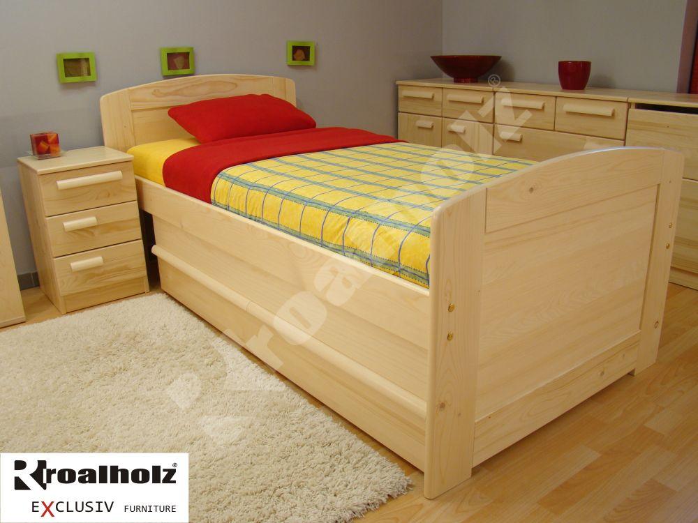 Vysoká postel z masivu pro seniora PAVLA SENIOR 90x200, zvýšené jednolůžko ROALHOLZ