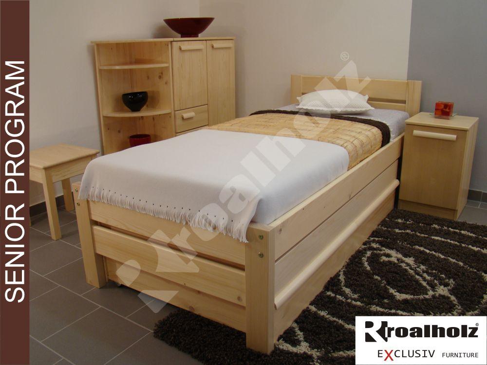 Dřevěná postel z masivu pro seniory NELA NR SENIOR 90x200, zvýšené jednolůžko ROALHOLZ
