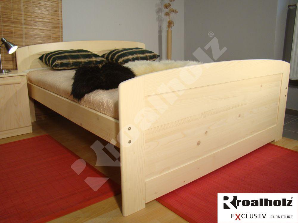 Vysoká senior manželská postel z masivu PAVLA SENIOR, dvoulůžko ROALHOLZ