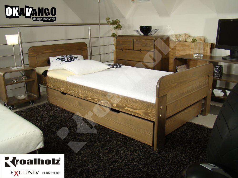 moderní postel z masivu FARISA 90x200, design postel z masivu