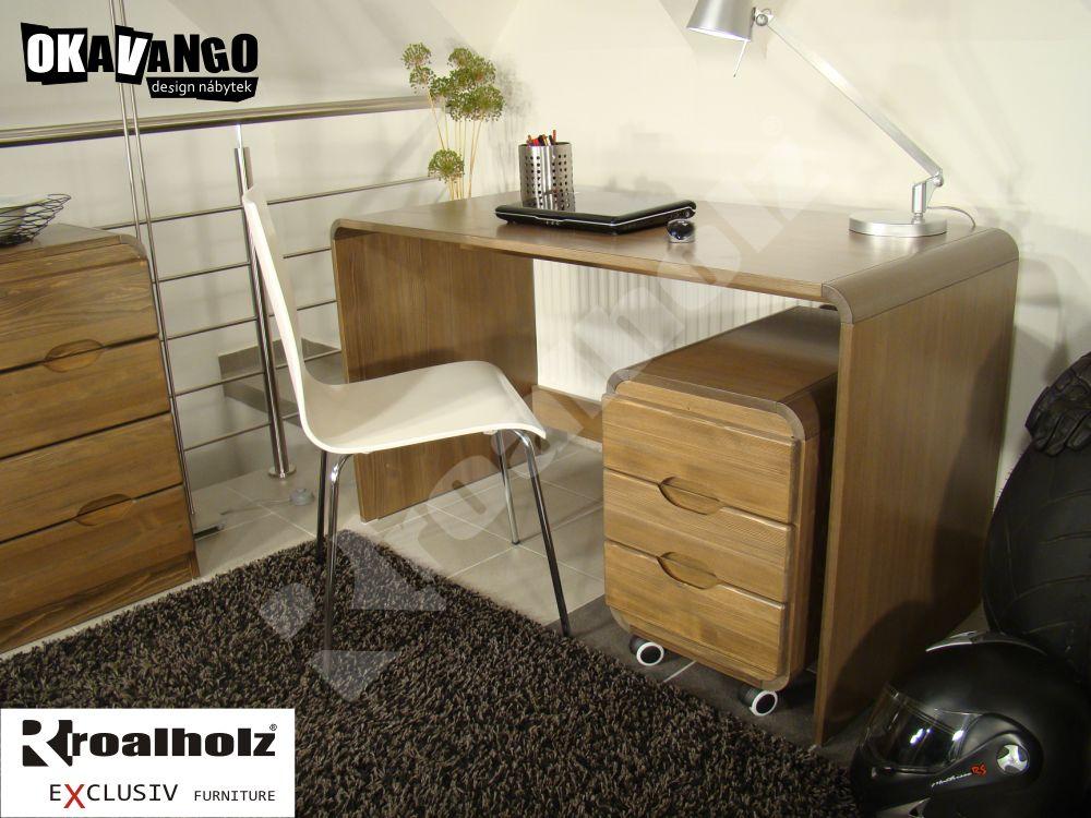 dřevěný psací stůl z masivu DANSO (design psací stůl masiv DANSO, moderní design OKAVANGO)