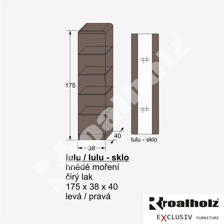 dřevěná úzká skříň z masivu policová LULU (design policová úzká skříň masiv LULU )