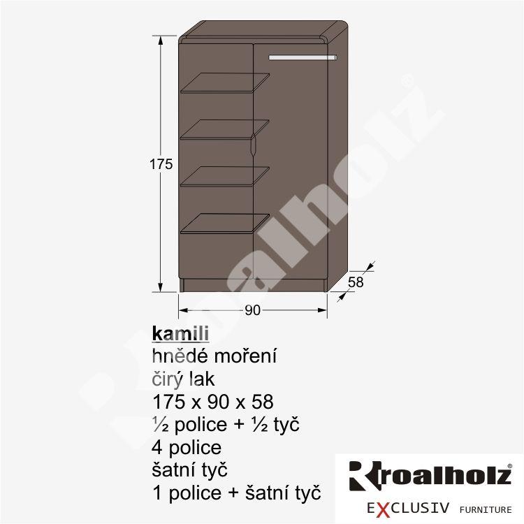 dřevěná skříň z masivu KAMILI (policová skříň, šatní i půlená skříň masiv KAMILI)