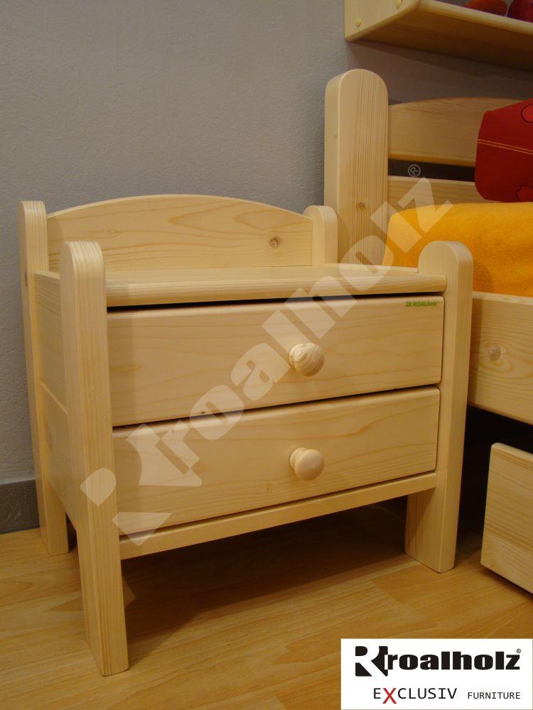 Dřevěný levný noční stolek z masivu RADKA, noční stolek masiv ROALHOLZ