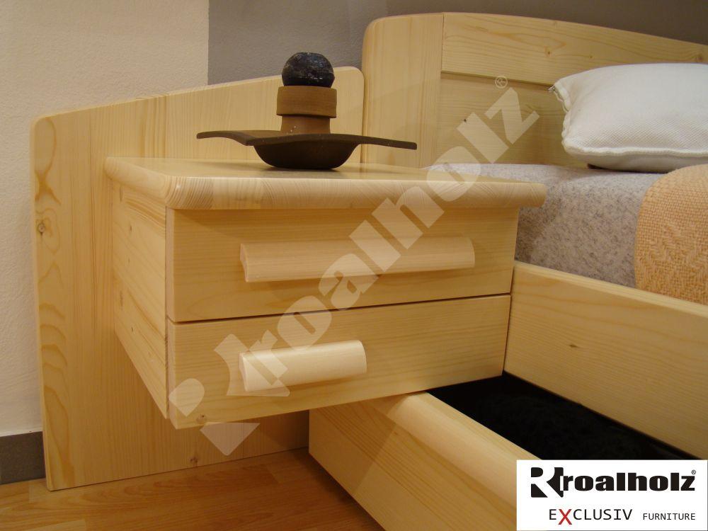 Závěsný noční stolek z masivu DANIEL, závěsný na bočnici postele ROALHOLZ